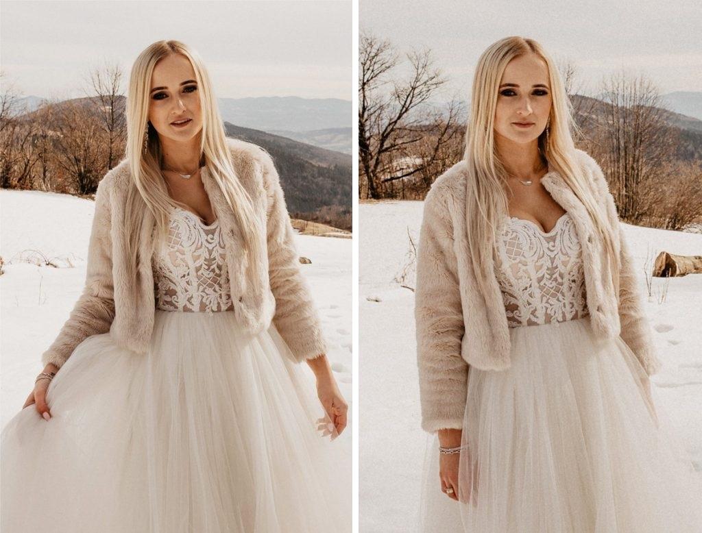 Pani Młoda na zimowym plenerze ślubnym w górach