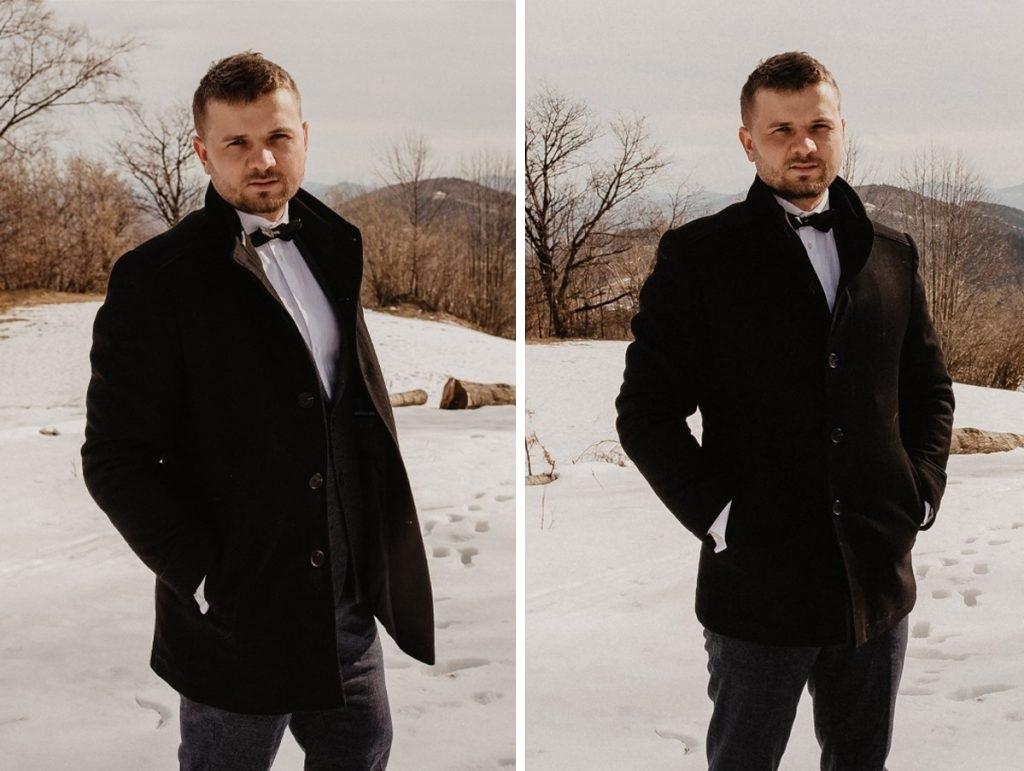 Pan Młody na zimowym plenerze ślubnym w górach