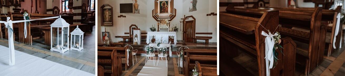 Ślub w kościele w Michalczowej - dekoracje