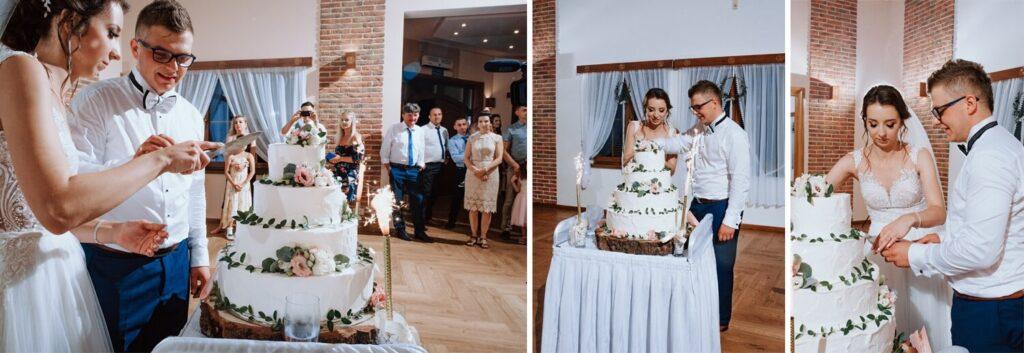 Sala weselna w Żmiącej przy Młynie -  Ujanowice -tort weselny