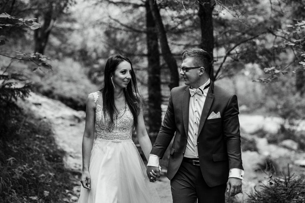 plener ślubny w wąwozie homole - spacer